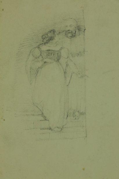 Ecole romantique vers 1830.  Cavaliers dans les montages.  Lavis d'encre brune sur...