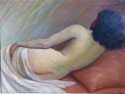 Jean JANNEL (1894 - ?).  Nu allongé, de dos....