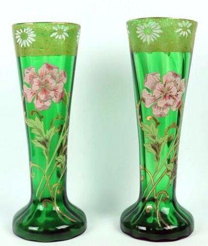 LEGRAS-MONTJOYE.  Paire de vases en verre...