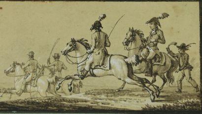 Jacques-François-Joseph SWEBACH DESFONTAINES (1769-1823), attribué à.  Les cavaliers....