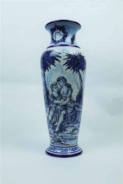 NEVERS, Jean Montagnon.  Vase en faience...