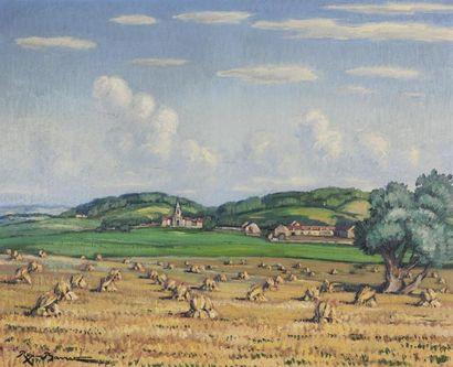 Rex BARRAT (1914-1974).  Moisson nivernaise....
