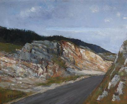 P. KLEMEZYNSKI (1910-1991).  Route en montagne....