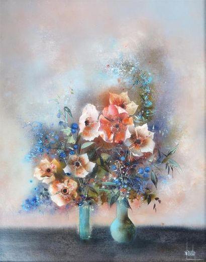 Benard LOUEDIN (né en 1938).  Deux vases...