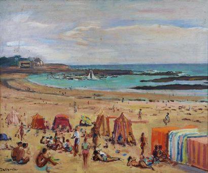 Paul DELTOMBE (1878-1971).  Les cabines à...