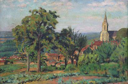 Paul DELTOMBE (1878-1971).  Le village au...