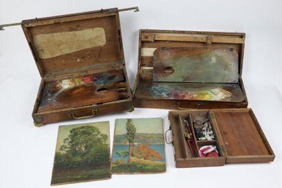 Ensemble de deux boites de peintre et une...