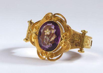 BRACELET en or jaune rigide marqué ROMA,...