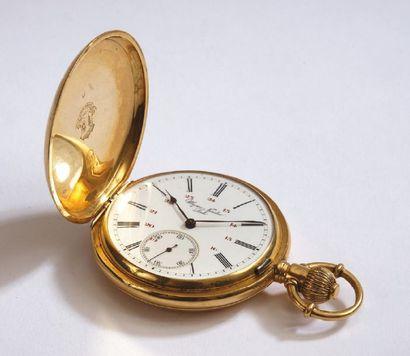MONTRE de gousset en or jaune chronographe,...