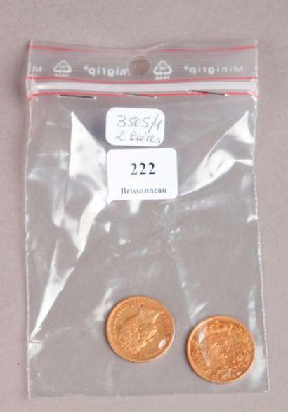 DEUX PIÈCES de 20 Francs or Louis XVIII 1824...