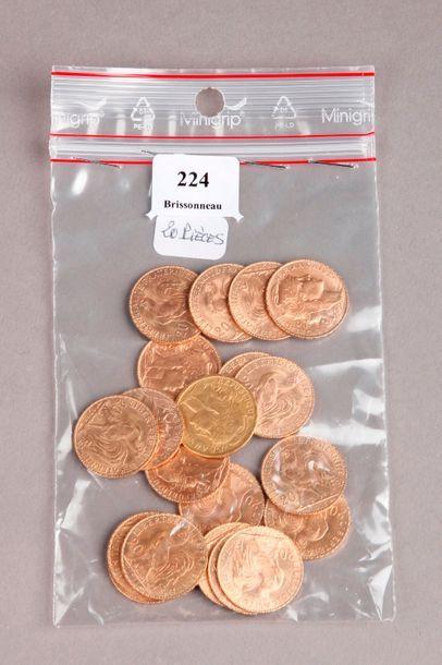 VINGT PIÈCES de 20 Francs or au coq. PIECES...