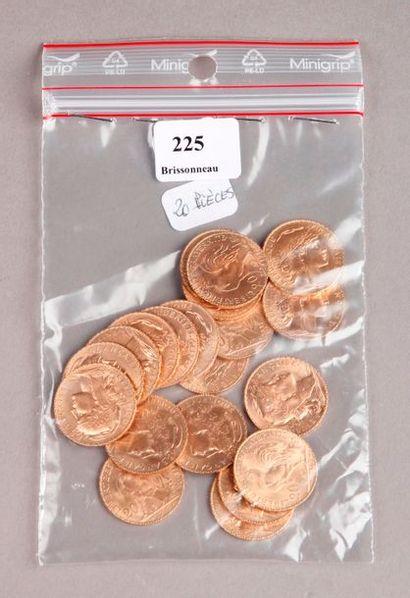 VINGT PIÈCES de 20 Francs or au coq.PIECES...
