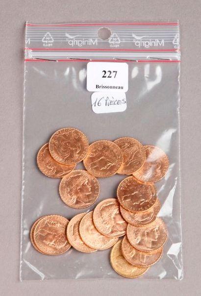 SEIZE PIÈCES de 20 Francs or au coq.PIECES...