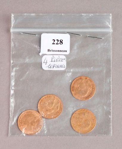 QUATRE PIÈCES de 10 Francs or Napoléon III...