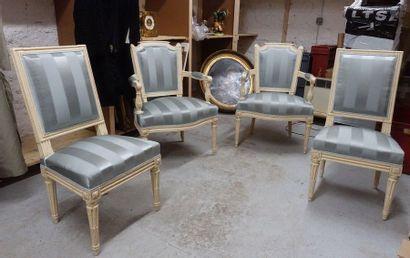 Paire de fauteuils et paire de chaises en...
