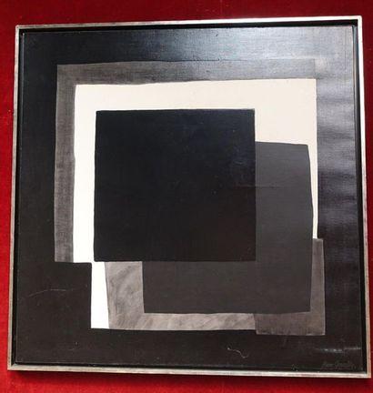 Pierre CHEVALLEY (1926-2006)   Carrés noirs et gris sur fond blanc   Huile sur...