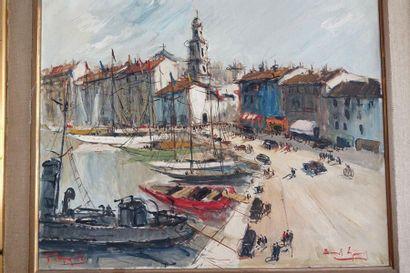 Ecole XXe siècle  Port de Saint Tropez  Huile sur toile, porte une signature en...