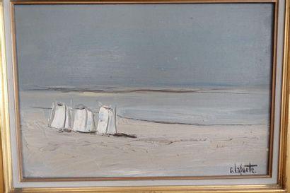 Georges LAPORTE (1926-2000)  Plage  Huile...