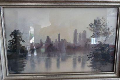 Y. de MARE  New York  Aquarelle  30 x 50...