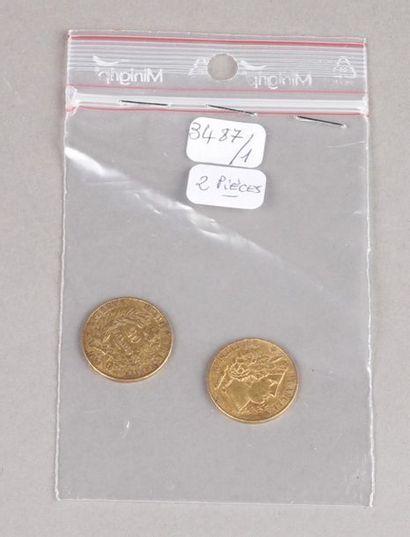 Deux pièces de 20 Francs or Céres, 1850 et...