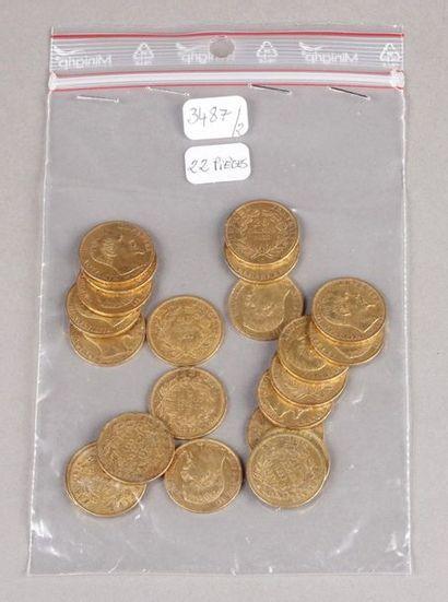 Vingt-deux pièces de 20 Francs or Napoléon...