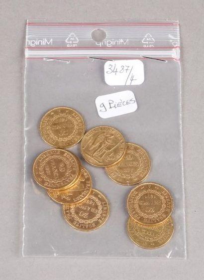 Neuf pièces de 20 Francs or Génie, Troisième...