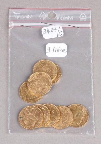 Neuf pièces de 20 Francs or Coq.