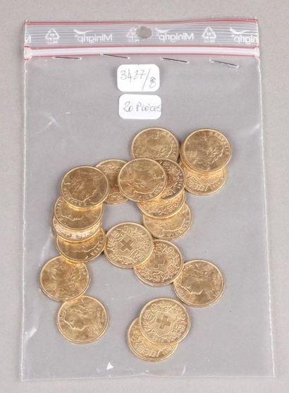 Vingt pièces de 20 Francs or Suisse.