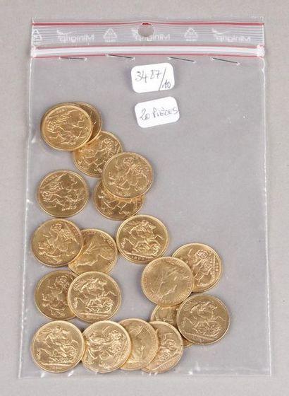 Vingt pièces de Souverains or anglais, reine...