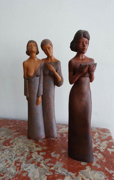 GONNIN- Deux femmes chantant et une femme...