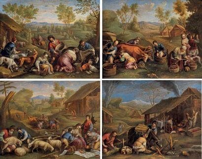 Attribué à Pieter van LINT (1609 - 1690) Les quatre saisons Suite de quatre cuivres....