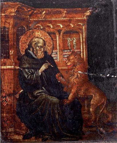 École ITALIENNE, premier tiers du XVe siècle Saint Jérôme dans son cabinet d'étude...