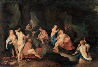 École FLAMANDE du XVIIe, suiveur de Van BALEN Diane et ses nymphes Panneau parqueté....