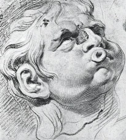Jacob JORDAENS (Anvers, 1593 - 1678) Etude de chasseur sonnant du cor Papier marouflé...