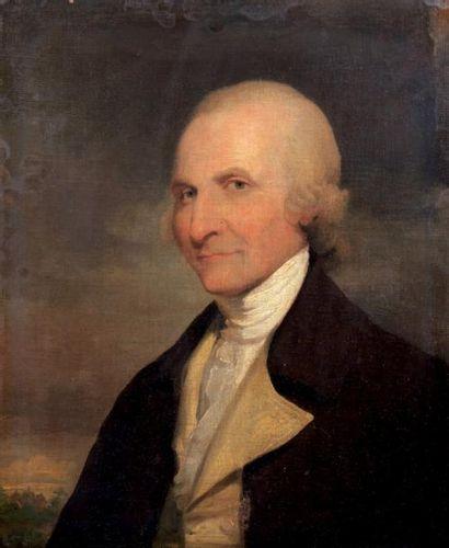 École AMERICAINE vers 1780, entourage de Gilbert Stuart Portrait d'homme sur fond...