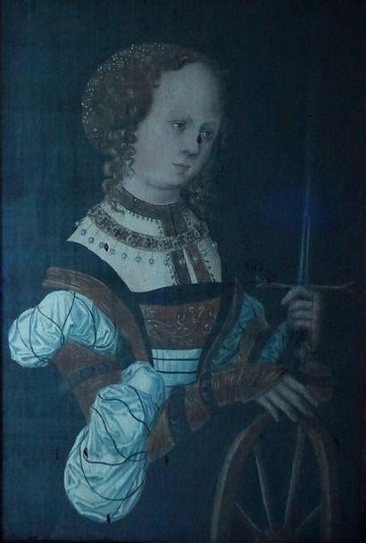 Lucas CRANACH (1474-1553), Atelier de. Saintye Catherine. Elle est représentée à...