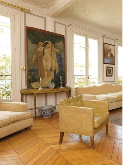 Jean-Michel FRANK (1893-1941) Paire de fauteuils club entièrement recouverts de skaï...