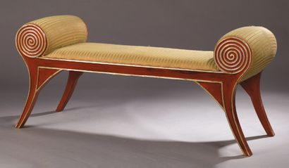 LITTLE low bench in red painted wood and...