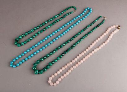 LOT including a necklace of pink quartz balls,...