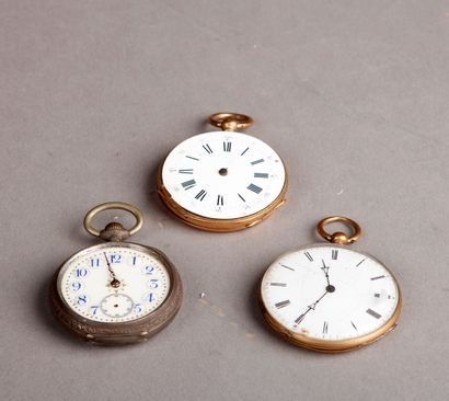 TWO yellow gold GOUSSET WATCHES (accidents,...