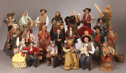 Important set of 80 SANTONS PROVENÇAUX dressed...