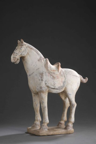 Terracotta horse with traces of polychromy....