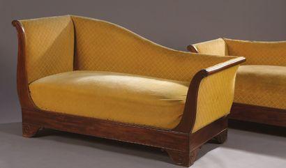 Pair of mahogany veneered meridian chairs...