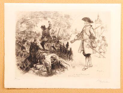 Albert ROBIDA Retrouvailles de Guerre, rapprochement (1918); in-folio (39x29 cm),...