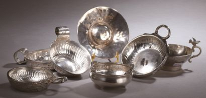 A silver WINE CUP, gadroon decoration, scrolled...