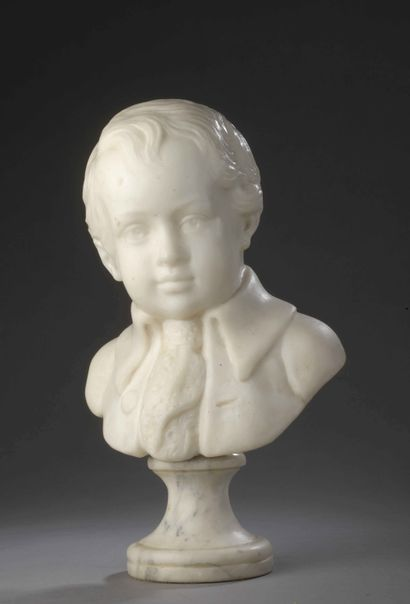 Small BUST OF A CHILD wearing a jacket and...