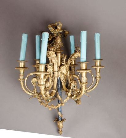 Gilded bronze LUSTRE with six arms of light...