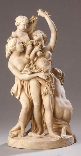 A terracotta GROUP representing love carried...