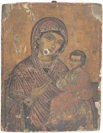 - Vierge à l'Enfant Marie, vêtue de son maphorion...