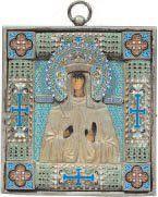 - Sainte Olga Revêtement en argent émaillé....
